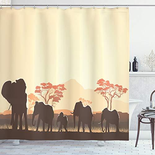 ABAKUHAUS afrikanisch Duschvorhang, Safari Tier Elefant, mit 12 Ringe Set Wasserdicht Stielvoll Modern Farbfest & Schimmel Resistent, 175x200 cm, Hellgelb Braun