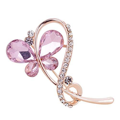Cngstar Frauen Corsage rosa Schmetterling Hochzeit Braut Pin Kleid Brosche Schals Schal Ornament,Rosa