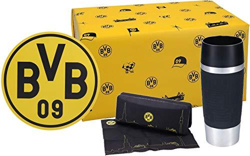 VonBueren Dortmund Fanartikel Geschenkset Büro, 3-TLG. mit Thermobecher, Mousepad und Brillenetui