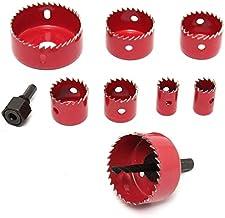X-BAOFU, 8pcs / Set Sierra de Madera de la aleación de Hierro Cortador Bi Agujero del Metal Set Kit HSS Broca con la Herramienta eléctrica for Llave Hexagonal de carpintería Cortador (Color : Rojo)