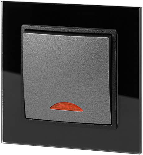 UP Kristallglas Ein-/Ausschalter mit LED - All-in-One - Rahmen + Unterputz-Einsatz + Abdeckung - schwarz