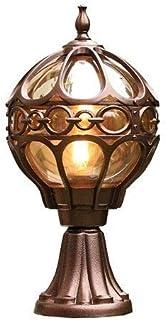 SMX Luminaria Decorativa for Poste de policarbonato con Globo al Aire Libre, Luminaria de Aluminio for iluminación paisajística Luz de Columna de país rústico Europeo Vintage