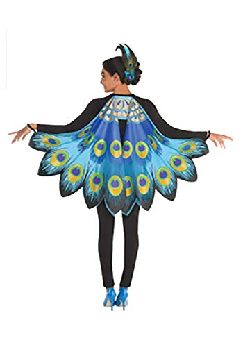 amscan Womens Peacock Printed Fabric Wings, Blue, One Size