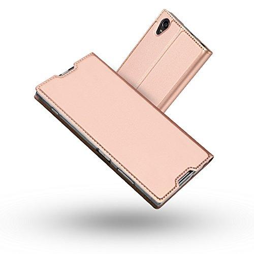 Radoo Sony Xperia XA1 Plus Hülle, Premium PU Leder Handyhülle Brieftasche-Stil Magnetisch Folio Flip Klapphülle Etui Brieftasche Hülle Schutzhülle Hülle Cover für Sony Xperia XA1 Plus (Rose Gold)