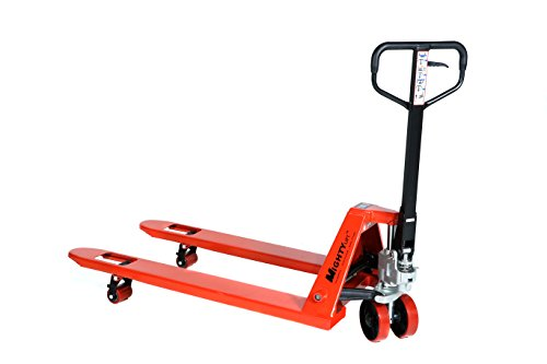 Mighty Lift ML55C Heavy Duty Pallet Jack Truck, Wheels, Polyurethane on Steel, 50' Height, 27' Width, 48' Length, 5500 lb. Load Capacity, Orange