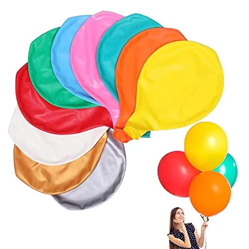 JOJOR 10 Ballon Géant Gonflable, Grand Ballon Multicolore 90cm,Latex 36 Pouces Ballon pour Mariage Anniversaire Baptême Bébé Douche Enfants Fête Festival
