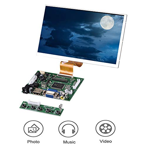 Tonysa Raspberry Pi 7 Zoll Bildschirm, Tragbarer 1024X600 Hohe Auflösung HD TFT Display für Raspberry Pi,Unterstützung mit Fernbedienung für Mobile DVD/digitaler Bilderrahmen