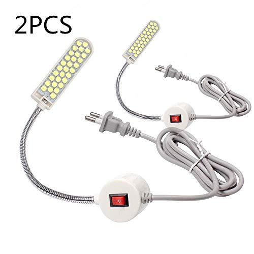 Lixada 1 W 20 LED Nähmaschine, Lampe mit festem Magnetfuß, flexibler Schlauch, Schwanenhals, Design 2 Stück