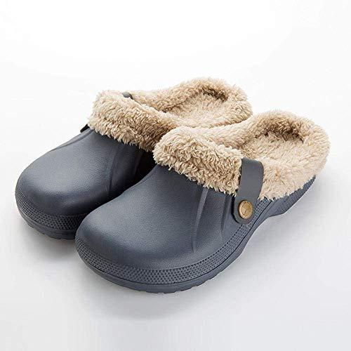 SLM-max Zapatillas Unisex,Zuecos de azafrán para Hombres y Mujeres con Zapatos de Invierno de Piel, de Felpa Suave, Forro Polar, Zapatos de Piel cálidos para el Piso del hogar