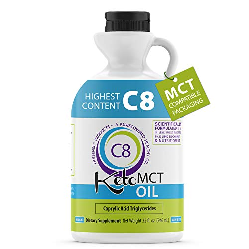 Premium C8 Keto MCT oil Sourced from Coconut Oil, 32 oz, Custom easy pour Bottle, Made in USA by PhD Nutrition, Keto Friendly, MCT compatible packaging includes regular and easy pour caps