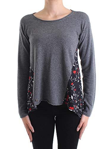 Manila Grace grauer Pullover mit Blumen S