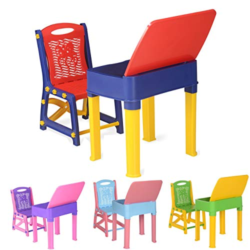 A406 Kids Study Desk Study table and chair set Junior's Toddler study chair and desk for children boys and girls gift set (Blue)