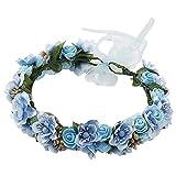 SKYVII Corona de flores corona de flores corona de flores diadema de boda corona de pelo de flores para mujeres niñas corona de pelo para boda fiesta