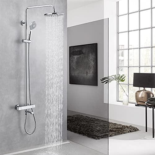 Sistema de ducha con termostato, 3 funciones, ducha de lluvia con grifo de acero inoxidable, grifo de ducha, columna de ducha, bañera ajustable, barra de ducha para baño, cromado (termostato cuadrado)