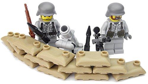 Deutsche Mörser Stellung | Zwei deutsche Soldaten mit BrickArms Helm und Ausrüstung | Bedruckte Custom Figuren
