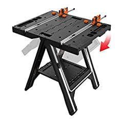 [WORKTABLE & SAWHORSE] Holds up to 300 lbs. as a work table, supports 1,000 lbs. as a sawhorse. And it's easy to transition between the two [CUSTOM CLAMPS] Two quick clamps are integrated and stay attached even when you fold the table into a sawhorse...