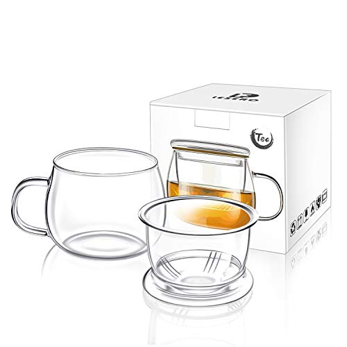 Lezero 13 ounce Tea Cups Kits Loose Tea-leaf Brewing System, Thickened Glass Cups with Tea Infuser Basket and Lid, Simple Filtration Teacups Great for Family Daily