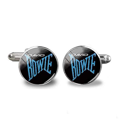 Style1 Manschettenknöpfe David Bowie, Silber, beliebter britischer Rockmusiker, hochwertiger Schmuck, Hemd-Manschettenknopf für Herren