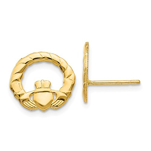 Solid 14k Yellow Gold Celtic Irish Claddagh Post Studs Earrings - 12mm x 13mm