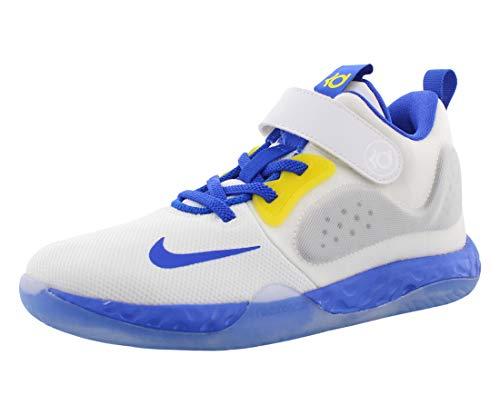 Nike Little Boys KD Trey 5 VII Basketball Sneakers (2.5, White/Racer Blue-Opti YEL)