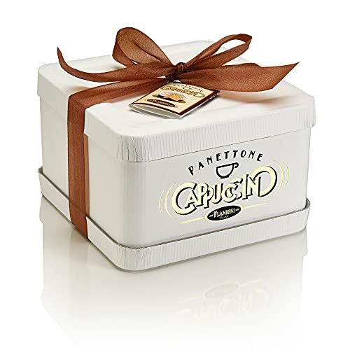 FLAMIGNI, Panettone Artigianale Cappuccino con Pepite di Cioccolato al Caffè Glassato con Cioccolato Bianco e Granella di Zucchero al Cacao, Speciale Confezione Regalo per Natale in Scatola, 1 kg