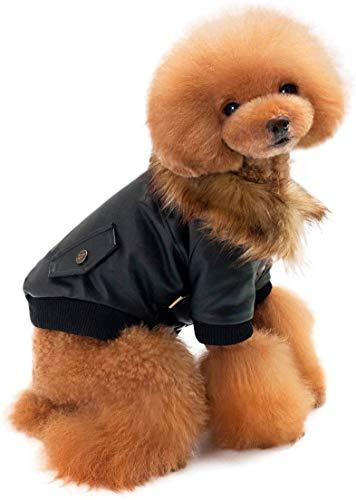 mianyang Hunde-Lederjacke, Winter, dick, warm, Welpenweste mit Fellkragen, schön und modisch, geeignet für kleine Hunde (schwarz, XL)
