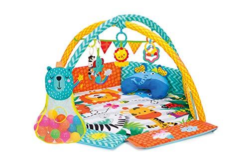 Fillikid Aktivbogen 3in1 I Spielmatte mit Bällebad I Lernmatte, Erlebnisdecke, Krabbeldecke mit Nackenkissen und aufklappbare Seitenteile I Spieldecke für Babys mit Spielbogen, ab 0 Monaten
