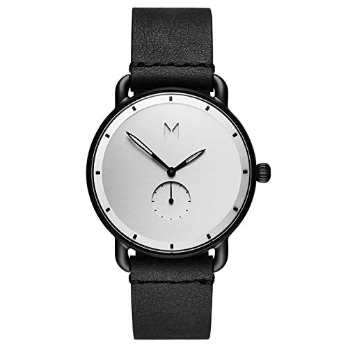MVMT Revolver Mens Watch, 45 MM | Leather Band, Analog Watch, Chronograph with Date | Black