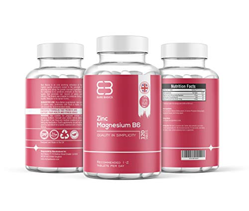 Zinc Magnesium & Vitamin B6 - 120 Tablets - Vegan & Vegetarian Friendly - Tailored Formula - Highest Quality - Supportive of a Healthy Lifestyle - Made by Bare Basics UK