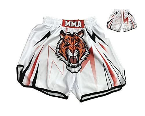 AITING MMA Lucha Shorts UFC Jaula Lucha Lucha Muay tailandés Boxeo Arte marcial Ropa Uniforme Kickboxing Blanco M