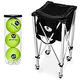 Morvat Tennis Ball Hopper, Tennis Ball Cart, Tennis Ball Basket, Tennis Accessories, Tennis Gift, Lightweight, Portable, Includes Carry Bag
