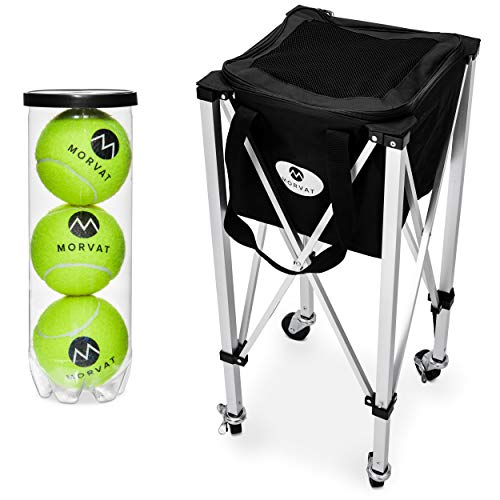 Morvat Tennis Ball Cart (Holds Up to 150 Tennis Balls), Tennis Ball Hopper Basket, Tennis Ball Basket, Tennis Accessories, Tennis Gift, Lightweight, Portable, Includes Carry Bag