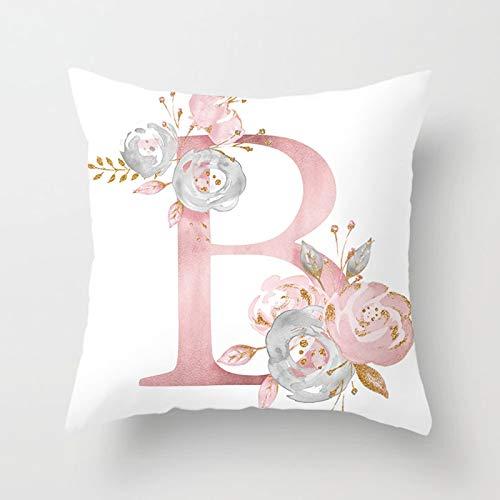 AtHomeShop Funda de cojín decorativa de 50 x 50 cm, funda de cojín en poliéster con letra B en inglés con flor, funda de cojín cuadrada para sofá, salón, coche, decoración – blanco y rosa, estilo 3