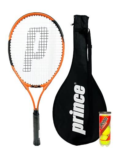 Prince Power Vortex Ti - Raqueta de tenis para adultos, incluye funda protectora con correa de transporte y 3 pelotas de tenis de Penn, tamaño de agarre L3