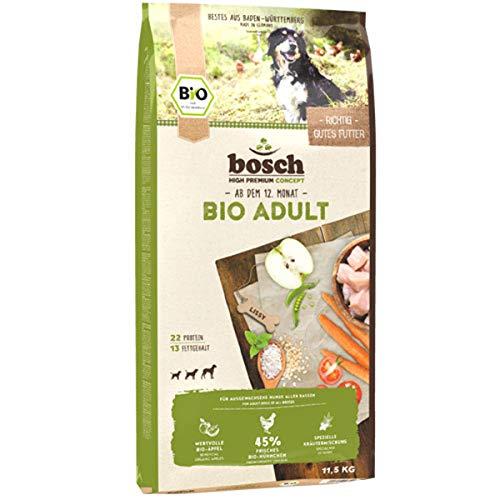bosch HPC BIO | Adult Hühnchen & Apfel | Hundefutter für ausgewachsene Hunde aller Rassen | 100 {d87cf3d3610e9beb53ca87dbc4f15496fac120574212b987e7f849582b003f15} landwirtschaftliche Rohstoffe aus nachweislich biologischem Anbau