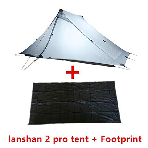 Mdsfe 3F UL GEAR LanShan 2 pro Tent 2 Person 3 Season Outdoor UltralightProfessional 20D Nylon Both Sides Silicon Camping Tent-4 Season Gray Suit