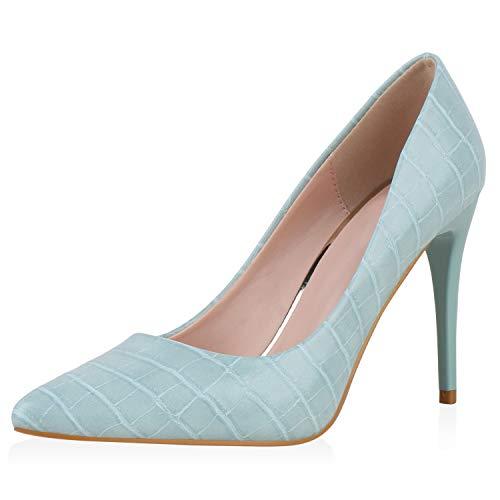 SCARPE VITA Damen Pumps High Heels Kroko Lack-Optik Stiletto Abendschuhe Elegante Schuhe 195499 Hellgrün Kroko 40