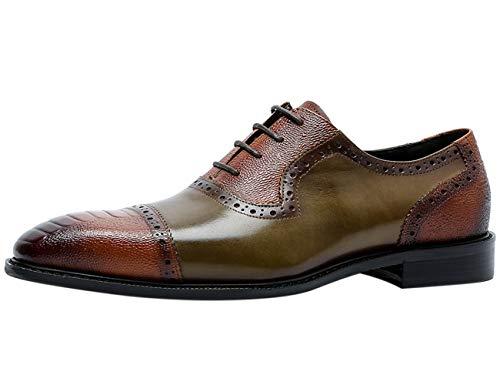 Zapatos Brogue Hombre con Cordones Bicolor Oxford de Cuero Cap Toe Vestir Formal Casual Plano Derby