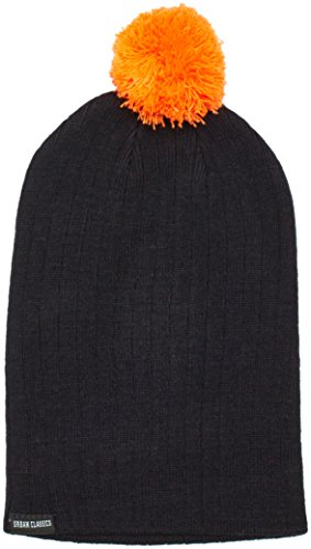 Urban Classics Wintermütze Neon Contrast Bobble Beanie Cache-Oreilles Mixte, Multicolore (Black/Orange), Fabricant: Taille Unique