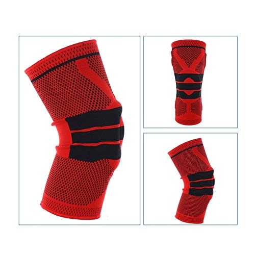 GZSC 1 STK Kneepad for fette Person S-5XL Plus Size Basketball Unterstützung Silikon Padded Knieschoner Unterstützung Klammer Patella-Schutz-Schutz-Knie-Auflage (Color : Red, Size : 4XL 60cm to 64cm)