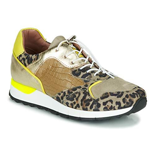 Mjus Cast Sneakers Dames Kaki/Luipaard - 40 - Lage Sneakers Shoes