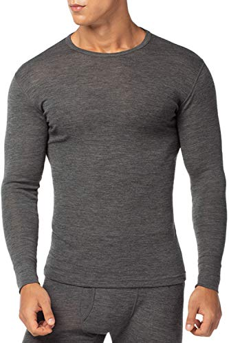 LAPASA Men's 100% Merino Wool Thermal Underwear Top Crew Neck Base Layer Long Sleeve Undershirt M29 (S Chest 35'-37' Sleeve 22', Dark Heather Grey)