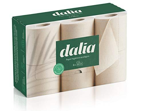 Dalia – Karton mit 6 Rollen (60 m) aus Toilettenpapier, extra-lang, ungebleicht.