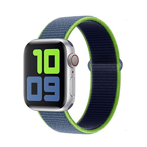 Correa para Apple watch band 40mm 44mmserie se 5 4 3 38 / 42mm correa de reloj correa Pulsera deportiva para Apple Watch Nylon Loop band-Neon Lime 57,42mm-44mm