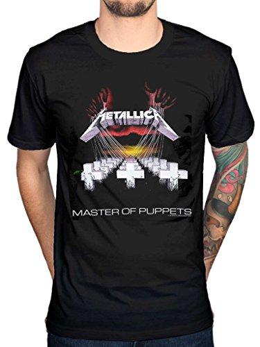 Camiseta oficial de Metallica Master Of Puppets, de banda de heavy metal y Thrash negro negro Large