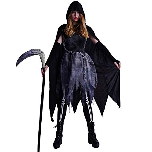 SEA HARE Women's Halloween Grim Reaper Ghost Costume With Cape