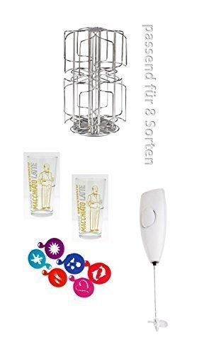 Bosch Tassimo Kapselhalter NEU für 48 Stück NEU für 6 Sorten T-Discs+ Tassimo Aktion 2 Gläser Latte Macchiato spülmaschinengeeignet schwere,standfeste Qualität von James Premium® Barista cc 350 Durchmesser 8,2 cm Höhe 12,9cm cc + 1 Mixer 6 Schablonen