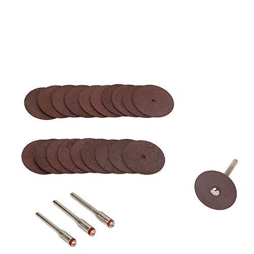 Join Ware 50Pcs 25mm Mini Rotary Tool Resin Cutting Wheel Disc Blade + 3Pcs Mandrel Cut Off Set for Metal, Plastic