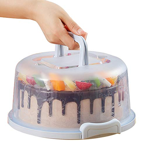 Plastic Small Cake Carrier Holder with Collapsible Handle Cover Round Cupcake Container Suitable for 6 inch Diameter Cake or less(Blue)