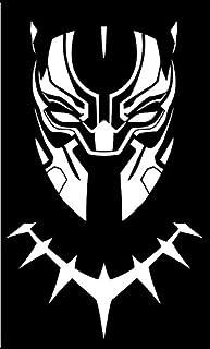 CCI CCI1627 Vinyl Aufkleber, Motiv: Black Panther Maske, für Autos, LKWs, Lieferwagen, Wände, Laptops, 16,5 x 10,8 cm, Weiß
